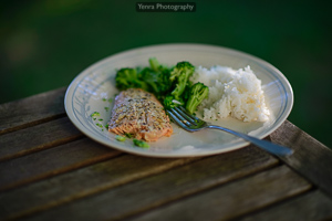 Salmon with broccoli and rice